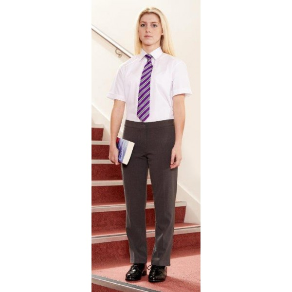 Girls Slim Cut Grey Trousers